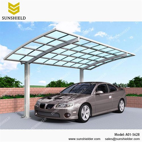 Metal carport canopy outdoor curved carports sunshield for Single garage with carport