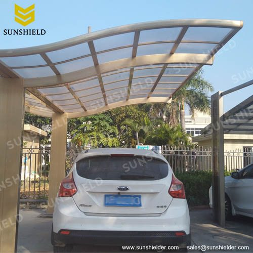 Single Slope Aluminum Alloy Driveway Canopy with Waves Anti-UV Top & Driveway Canopy - Waved Roof Single Carport - Sunshield