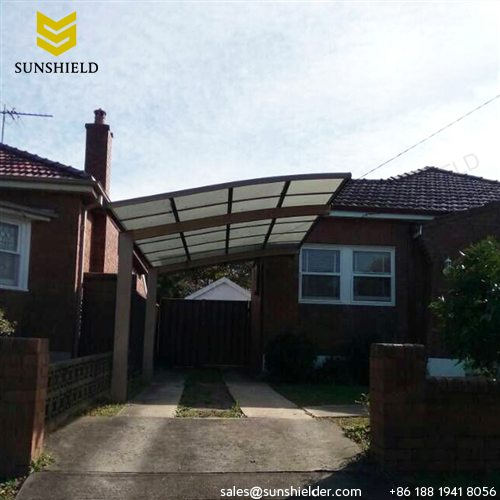 Metal carport canopy outdoor curved carports sunshield for Single slope carport