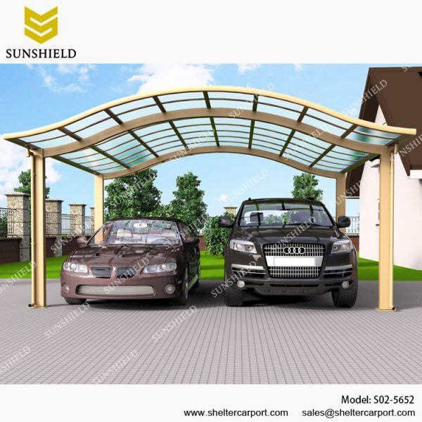 Aluminum Canopy Parking With Polycarbonate Panel Shelter