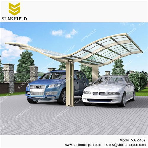 S03-5652 - SUNSHIELD Metal Sheds - Car Canopy with PC Panel - Aluminum Carport for Sale -2
