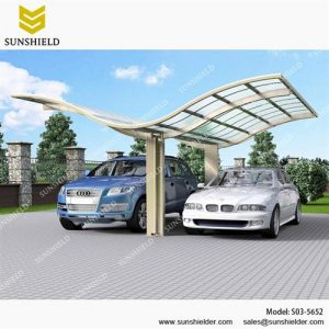 SUNSHIELD Carport - Alu Carport with PC Panel - Polycarbonate Carport for Sale - Aluminum Carport Awnings - Image of Diverse Model Design -S03-5652