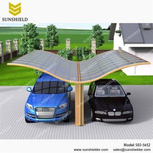 SUNSHIELD Carport - Alu Carport with PC Panel - Polycarbonate Carport for Sale - Aluminum Carport Awnings - Image of Diverse Model Design -Wave Roof