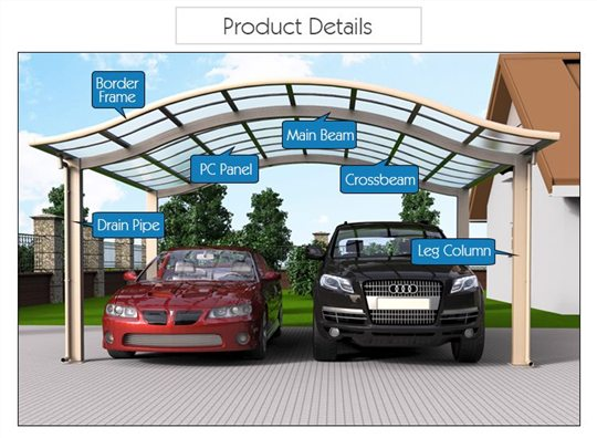 Prefab carports alu carport modern car shade for Carport detail