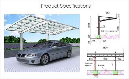 SUNSHIELD Carport - Alu Carport with PC Panel - Polycarbonate Carport for Sale - Aluminum Carport Awnings Product Specification