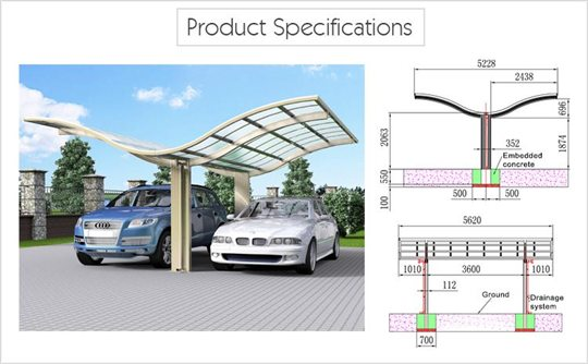 Carport Awnings Product : Luxury carport butterfly aluminum double sunshield