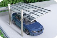 SUNSHIELD Carport - Alu Carport with PC Panel - Polycarbonate Carport for Sale - Aluminum Carport Awnings - Service - 3D Mock-up