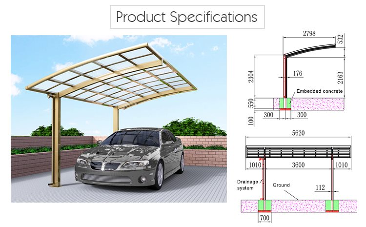 Polycarbonate carport arched roof car parking shed for Carport detail