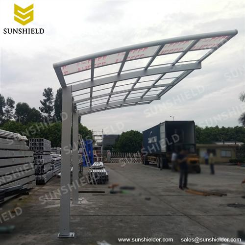 Single Slope Arched Polycarbonate Roof Metal Carport Canopy & Metal Carport Canopy- Outdoor Curved Carports - Sunshield Car Shade
