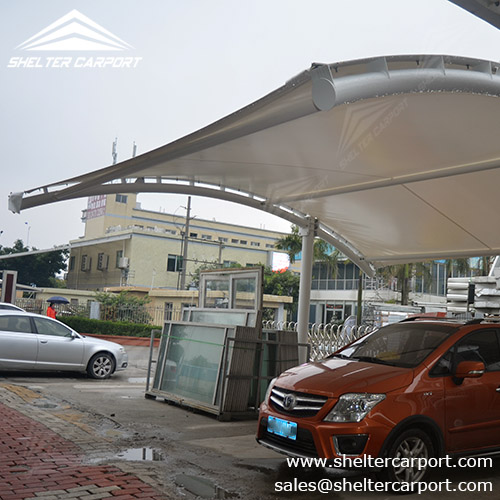 Car Parking Shed Tent : Car shed with metal framework and fabric top shelter carport