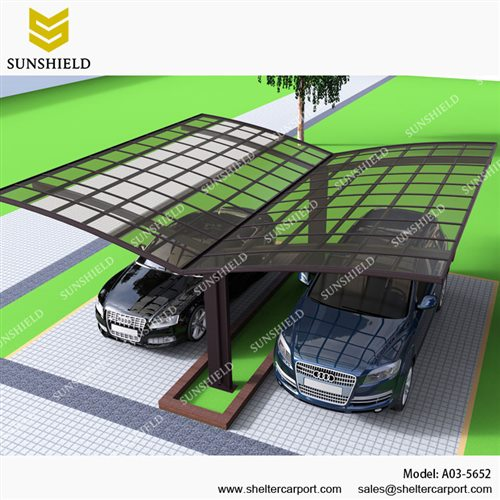 A03-5652 - SUNSHIELD Aluminum Car Canopy with Solid Panel - Metal Sheds - Car Canopy with PC Panel - Aluminum Carport for Sale -1