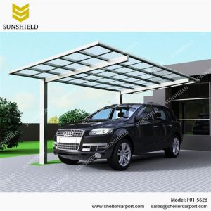 F01-5628 - SUNSHIELD Aluminum Carport Sheds with Transparent Top - Metal Sheds - Car Canopy with PC Panel - Aluminum Carport for Sale -1