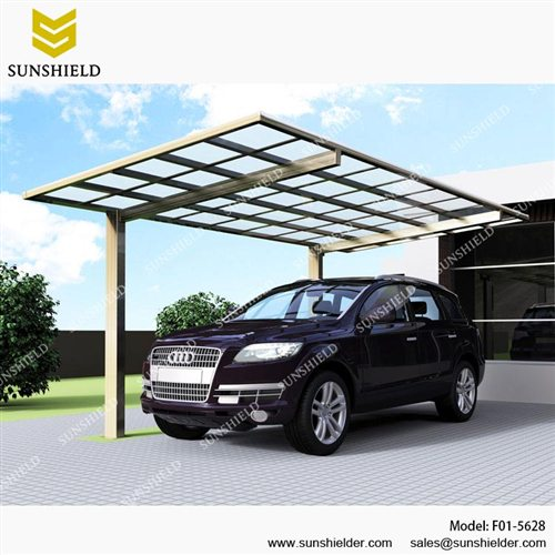 Flat Roof Car Shed- Aluminum Carport-Metal caports-building carport garage & Metal Car Canopy - Prefab Flat Roof Patio - Sunshield Single Carport