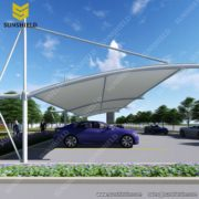 Cantilever Carport with PVDF Fabric - Tensile Parking Shed - Tension Membrane Carport - Sunshield Shelter