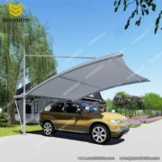 Cantilever Solid Carport - Tensile Parking Shed - Double Carport with PVDF fabric - Car Parking Shed -Sunshield Shelter