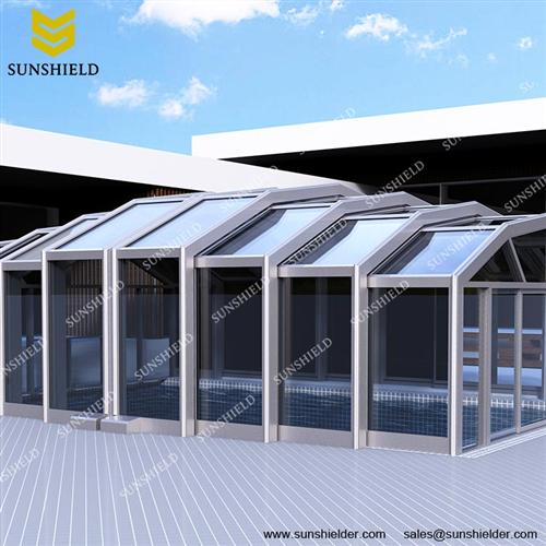 Commercial Retratable Enclosures - Sunroom -swimming pool enclosure - sun room extrension - Sunshield Shelter