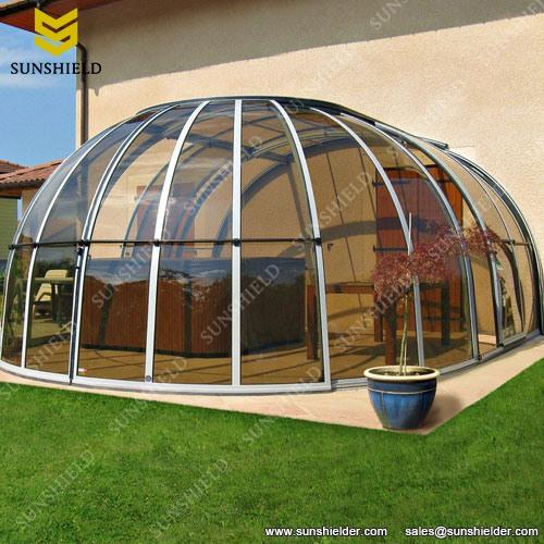 Sun house solariums retractable enclosures sunshield for Hot tub shelters