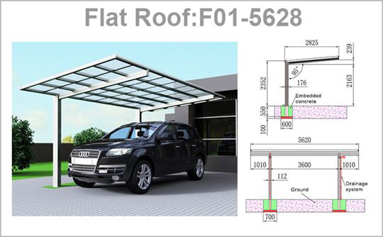 SUNSHIELD Carport - Alu Carport with PC Panel - Polycarbonate Carport for Sale - Aluminum Carport AwningsProduct Specification 3