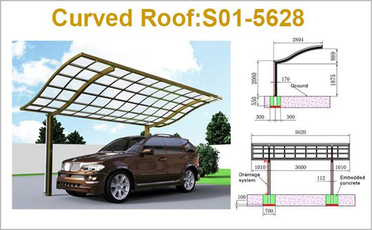 SUNSHIELD Carport - Alu Single Carport with PC Panel - Polycarbonate Carport for Sale - Aluminum Carport AwningsProduct Specification