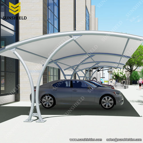 Sturdy PVDF Coated Car Park Shades Canopy & Car Park Shades - Fabric Car Shade - Build Steel Carport - Sunshield
