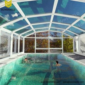 Custom Sun Room - Ventilated Sun House - Sunshield Auto Pool Enclosure - Mobile Retractable Polycarbonate Sun Room
