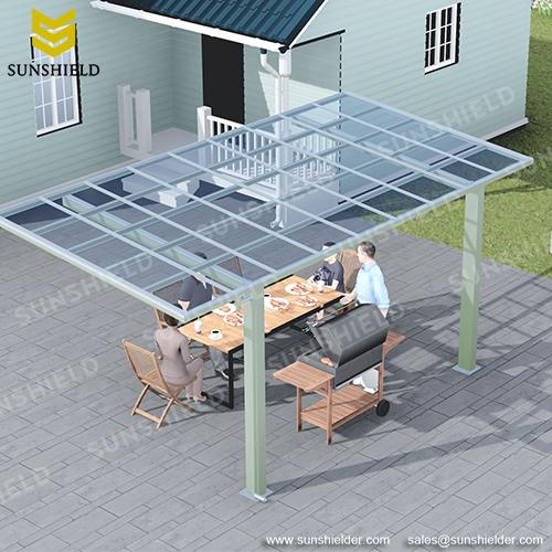 Freestanding Aliminum Patio - Polycarbonate Roof deck shade - Sunshield Porch Shade & Outdoor Dining Cover - BBQ Awning - Sunshield Shelter