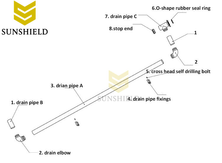 Assemble drain pipe - Sunshield Polycarbonate Carport