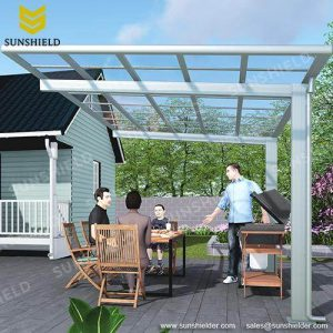 Backyard Flat Patio Covr - Terrace Awnings - Sunshield Aliminum Veranda_Jc