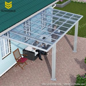 Terrace Awning - Aluminum Veranda - Sunshield Fixed Roof Balcony Cover_Jc