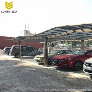 Portable Metal Carport-Flat Roof Polycarbonate Carport - Bronze Gable Aluminum Shade - A-Frame Garage&Carport -Sunshield Shelter