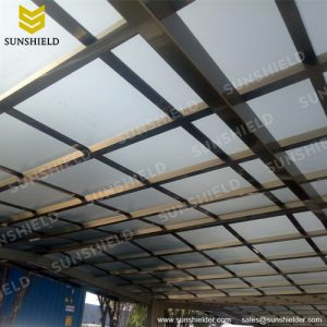 Light Gray Polycarbonate Roof- Outside Carport - Flat Top Patio Cover - Aluminum Y Carport - Sunshield Shelter