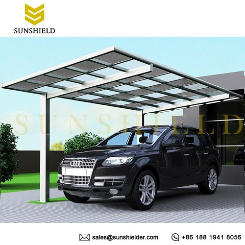 Mix Color Polycarbonate Shelter - Aluminum Polycarbonate Carport - Special Patio Cover - Unique Carport Design - Sunshield Shelter