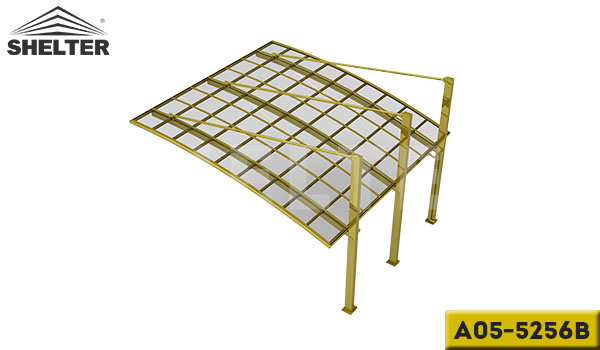 A05-5256B-champagne-arch-roof-pull-back-carport-for-2-cars-reliable-alu-carport-supplier-in-china